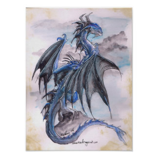 Blue Dragon - watercolours Poster