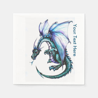 Blue Dragon White Cocktail Paper Napkins