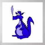 Blue Dragon with smoke