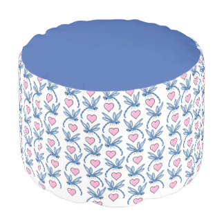 Blue Dragonflies and Pink Hearts Pouf
