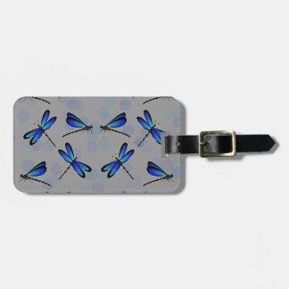 blue dragonflies bag tag