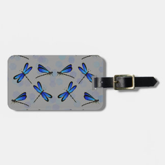 blue dragonflies luggage tag