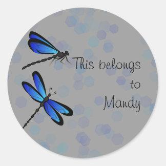 blue dragonflies round sticker
