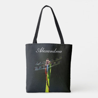 Blue Dragonfly   black background  w/ Name Tote Bag