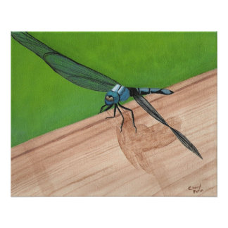 Blue Dragonfly Insect on a Rail Poster