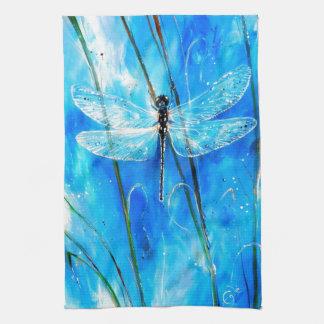 Blue Dragonfly Tea Towel