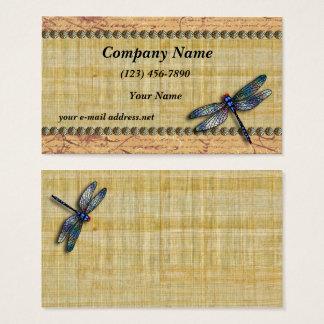 Blue Dragonfly Vintage Papyrus Business Card