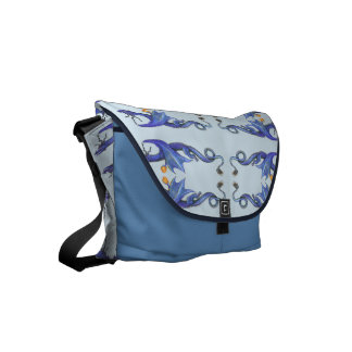 Blue Dragons Dancing Courier Bags