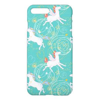 Blue Draw Cute Flying  Unicorn iPhone 7 Plus Case