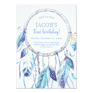 Blue Dream Catcher Birthday Invitation