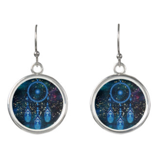 Blue Dreamcatcher Celestial Gold Stars Earrings