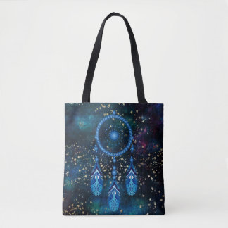 Blue Dreamcatcher Celestial Gold Stars Tote Bag