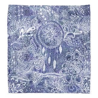 Blue dreamcatcher feathers floral illustration bandana