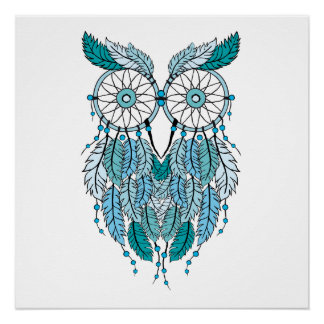 blue dreamcatcher owl poster