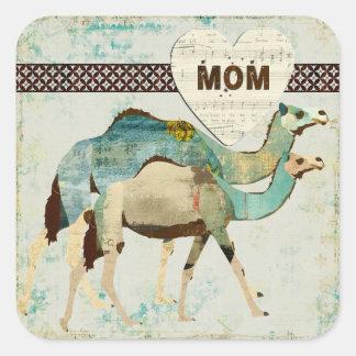 Blue Dreamy Camels Mom Sticker