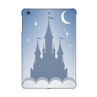 Blue Dreamy Castle In The Clouds Starry Moon Sky