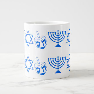 Blue Dreidel Menoral Chanukah 4David Giant Coffee Mug