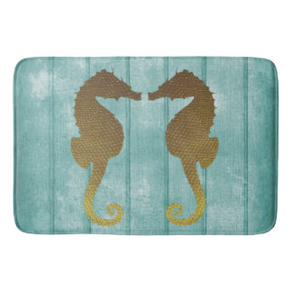 Blue Driftwood with Gold Seahorses Bath Mat