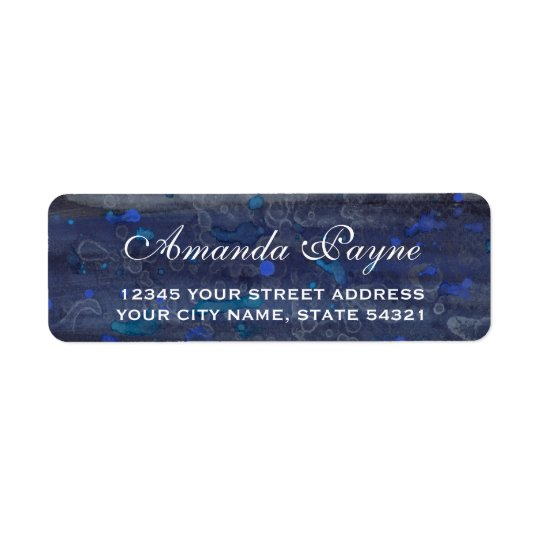 Blue Drizzle Wedding Return Address Label