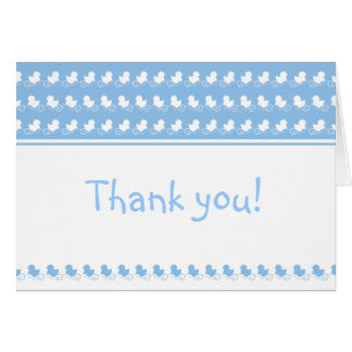blue ducks in row baby shower thank you card