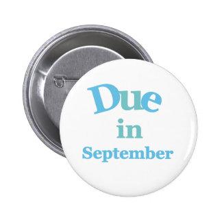 Blue Due in September 6 Cm Round Badge