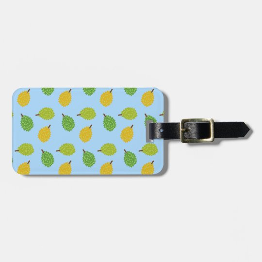 blue durians luggage tag