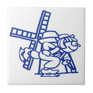 Blue Dutch Boy Windmill Tile