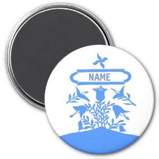 Blue Dutch Flowers, add names Magnet