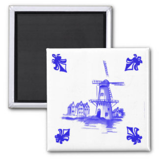 Blue Dutch Windmill Tile Delft look Square Magnet