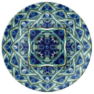 Blue Earth and Sky Mandala Porcelain Plate