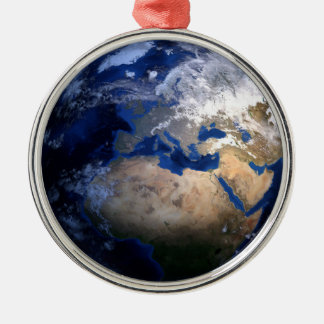 Blue Earth From Space  Inspirational Globe World Metal Ornament