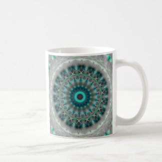 Blue Earth Mandala Kaleidoscope pattern Coffee Mug