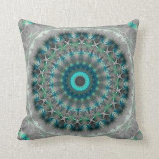 Blue Earth Mandala Kaleidoscope pattern Throw Pillow