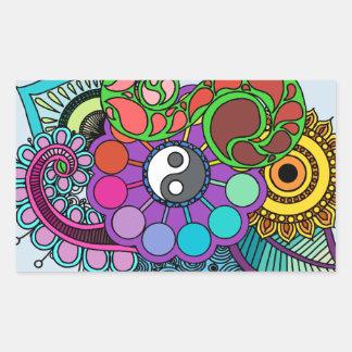 Blue Earth  Mandala Rectangular Sticker