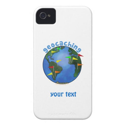 Blue Earth With Flags Geocaching Custom Case-Mate Blackberry Case