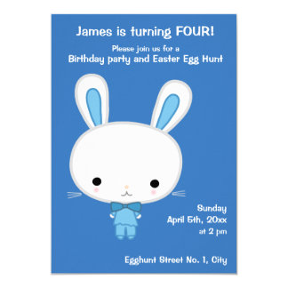 Blue Easter Birthday Invitations With Cute Bunny