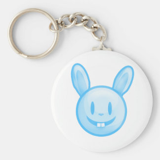 Blue Easter Bunny Basic Round Button Key Ring