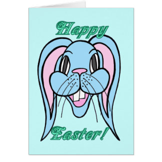 Blue Easter Bunny Greeting Card