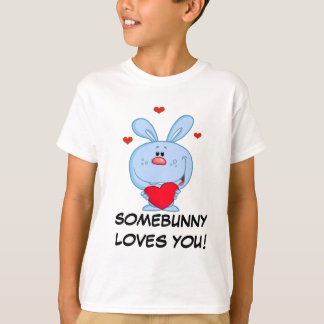 Blue Easter Bunny Holding Red Heart T-Shirt