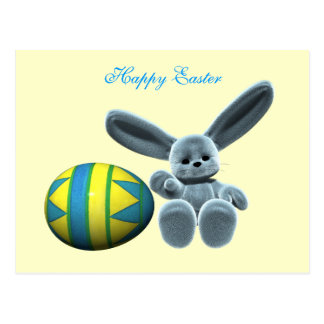 Blue Easter Bunny Postcard