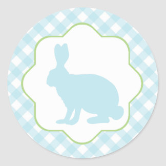 Blue Easter bunny rabbit on gingham checks sticker