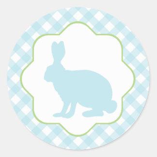 Blue Easter bunny rabbit on gingham checks sticker
