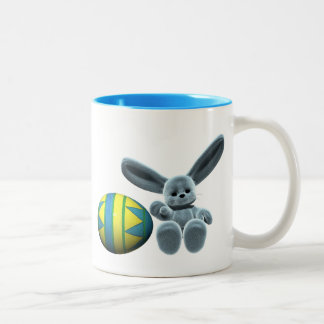 Blue Easter Bunny Two-Tone Mug