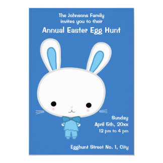 Blue Easter Egg Hunt Invitations With Cute Bunny