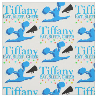 BLUE EAT, SLEEP, CHEER PERSONALIZED FABRIC