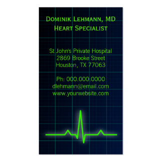 Blue ECG Heart Rate Monitor Business Cards Business Card