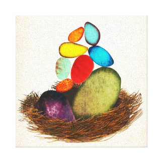 Blue Eggs In Nest Colorful Canvas