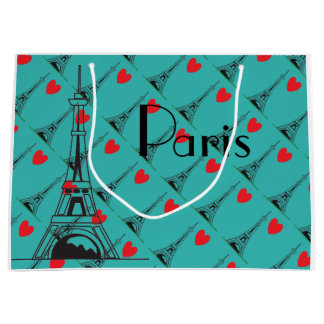 Blue Eiffel Tower Heart Gift Bag