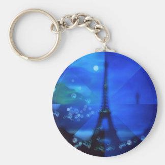 Blue Eiffel tower Illusion Keychain