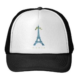 Blue Eiffel Tower in faux glitter Mesh Hats